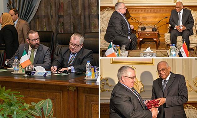 خلال لقاء نظيرة الايرلندى ..رئيس البرلمان يحث  على أهمية الإسراع في التصديق على اتفاق الخدمات الجوية