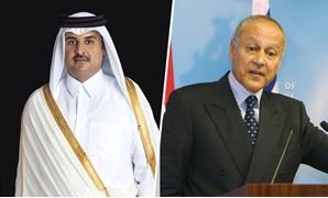 أحمد أبو الغيط الأمين العام لجامعة الدول العربية والأمير تميم