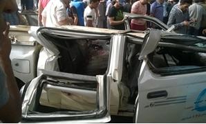ننشر أول صورة لحادث انقلاب سيارة من أعلى محور صفط اللبن
