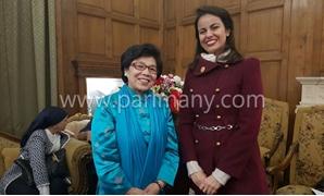 تمكين المرأة المصرية.. ماريان عازر تلقى كلمة باجتماع جمعية الصداقة الصينية